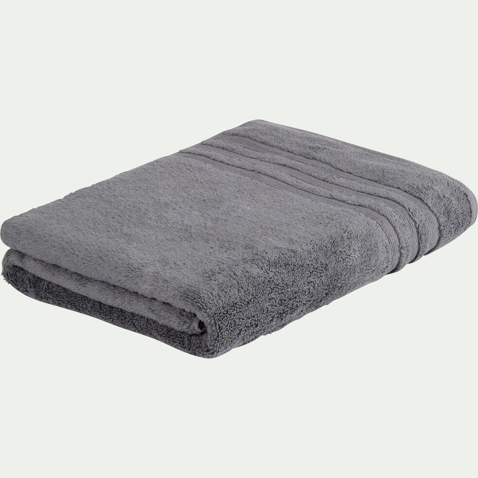 Drap de bain bouclette en coton - gris anthracite 100x150cm-Noun