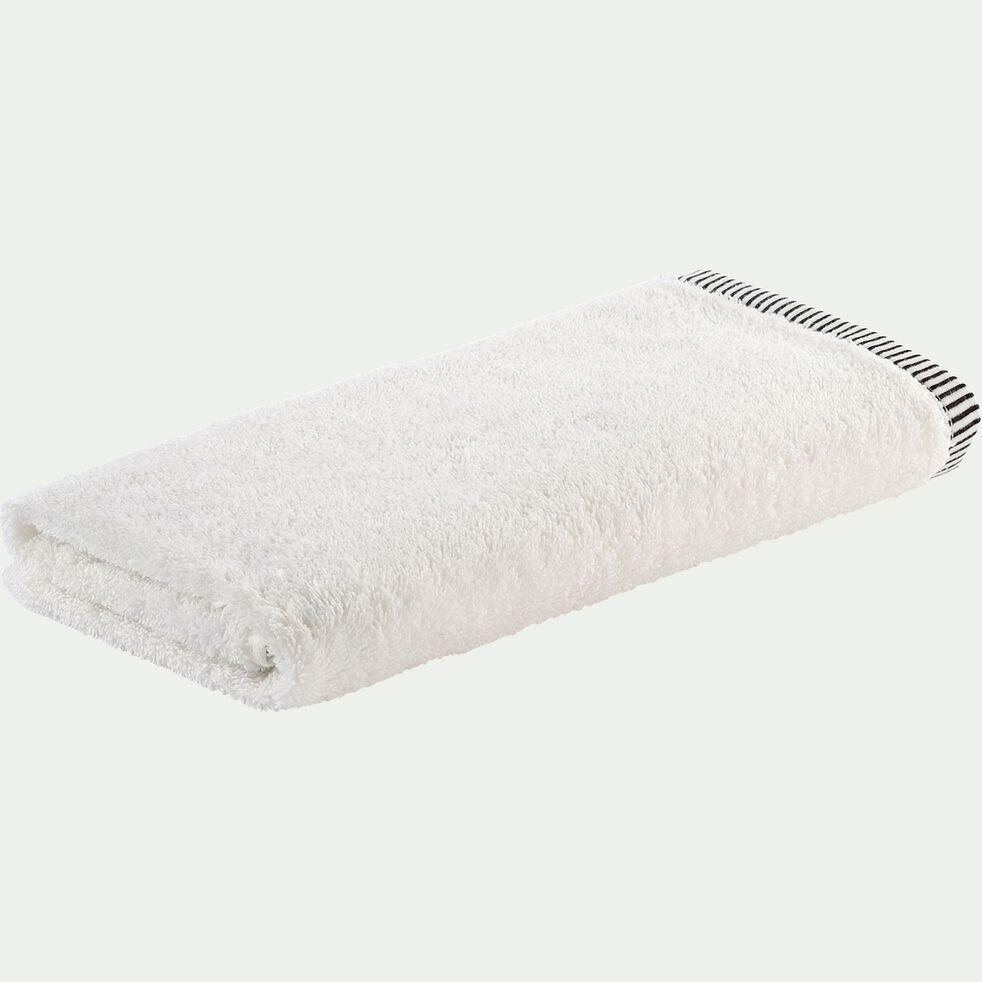Serviette de bain brodé en coton - blanc ventoux 50x100cm-Romane