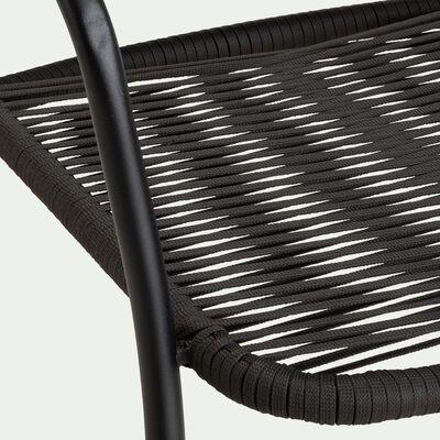 Chaise de jardin en aluminium avec accoudoirs - noir-TALIS
