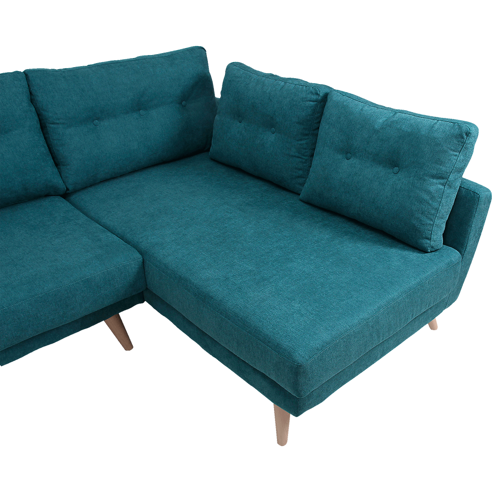 canap d 39 angle fixe droit en tissu vert icone canap s. Black Bedroom Furniture Sets. Home Design Ideas
