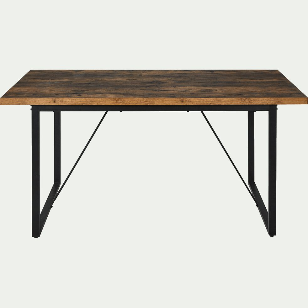 Table de repas rectangulaire effet bois et acier - 19 places