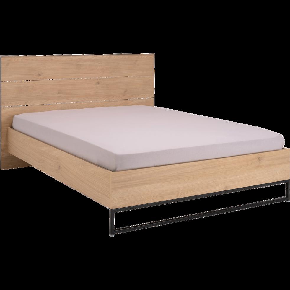 Lit 2 places bois et métal Noir - 160x200cm-GASPARD