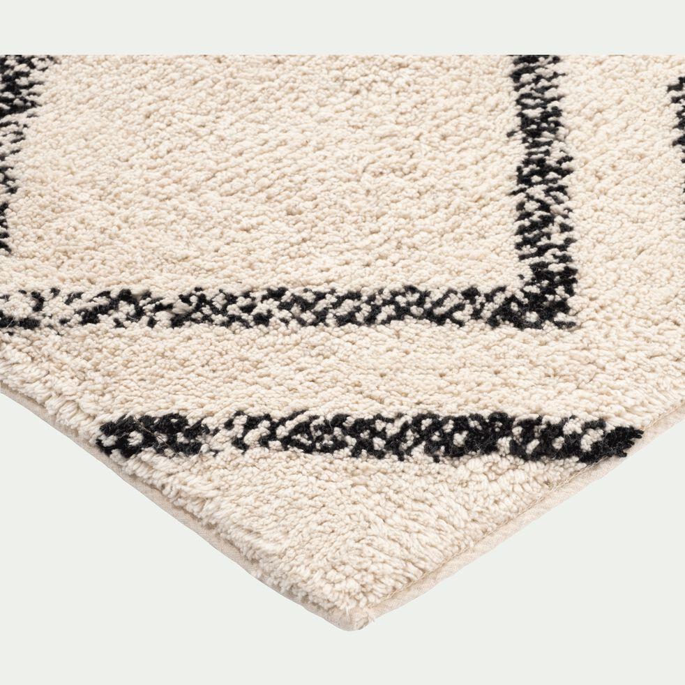 Tapis inspiration berbère - écru et noir 140x200cm-BARNABE