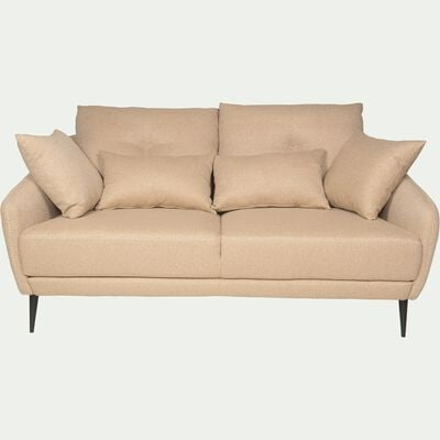 Canapé 2 places fixe en tissu beige roucas-DOME