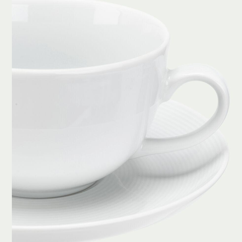 Tasse et soucoupe en porcelaine - blanc 45cl-AZE