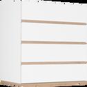 Commode module 4 tiroirs effet chêne - blanc-NESTOR