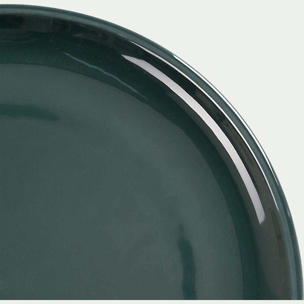 Assiette à dessert en faïence - vert olivier D20,5cm-JANGAL