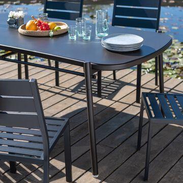 Ensemble table (6 à 10 places) et chaises de jardin en aluminium-Matias