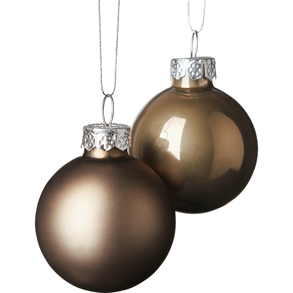 16 mini boules de Noël en verre marron D3,5cm-OLAN