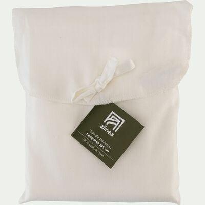 Taie de traversin rayée en satin de coton - blanc capelan 43x185cm-SANTIS