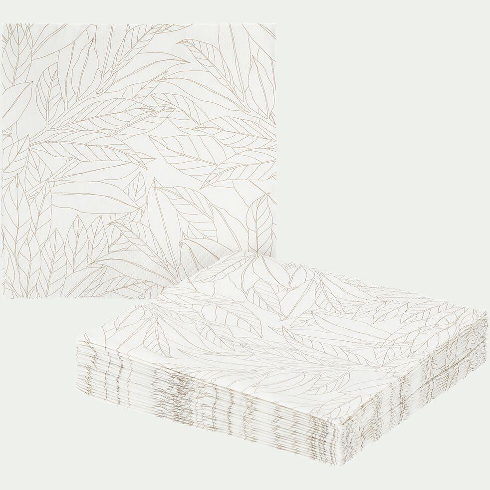 Lot de 100 serviettes en papier - motif laurier blanc 25x25cm-UZES