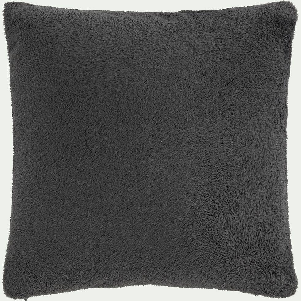 Housse de coussin effet polaire en polyester - gris ardoise 40x40cm-ROBIN