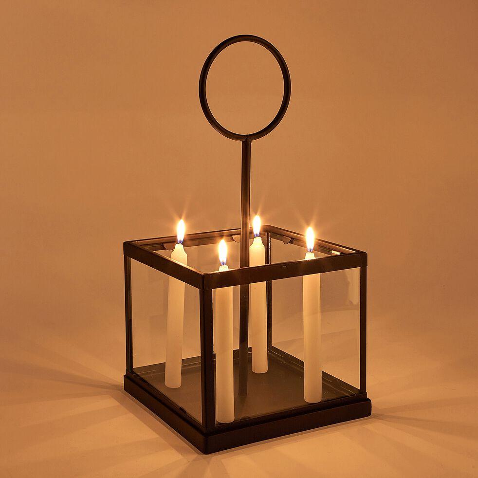 Photophore pour 4 bougies en métal et verre - noir L21xl21xH42cm-Fakir