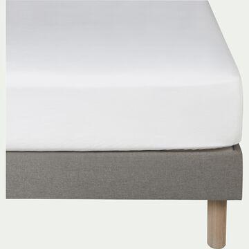 Drap housse en lin - blanc capelan 140x200cm B28cm-VENCE