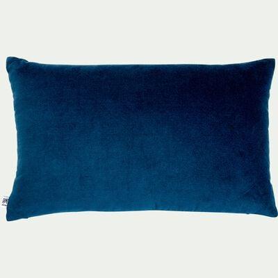 Coussin en velours de coton - bleu figuerolles 30x50cm-EDEN