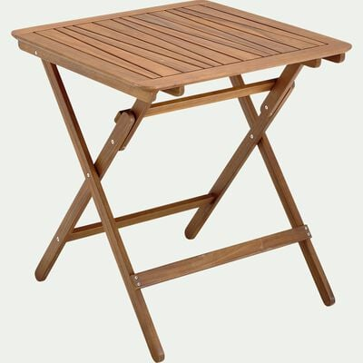 Table de jardin pliante en acacia huilée - naturel (2 à 4 places)-CARLO