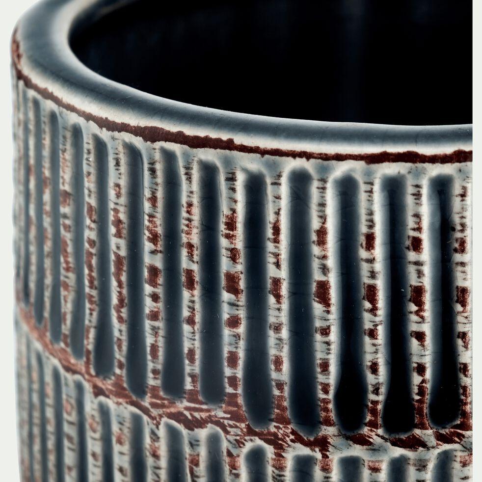 Vase en grès Gris brossé H21 cm-ADIGE