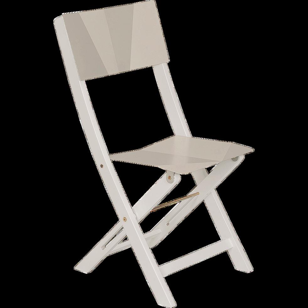 Chaise de jardin pliante taupe en acier et acacia-METALICA