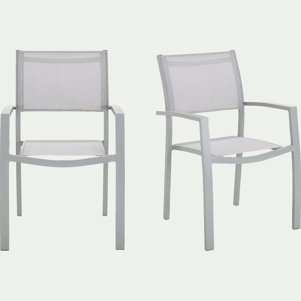 Chaise de jardin empilable en textile avec accoudoirs gris borie-ELSA