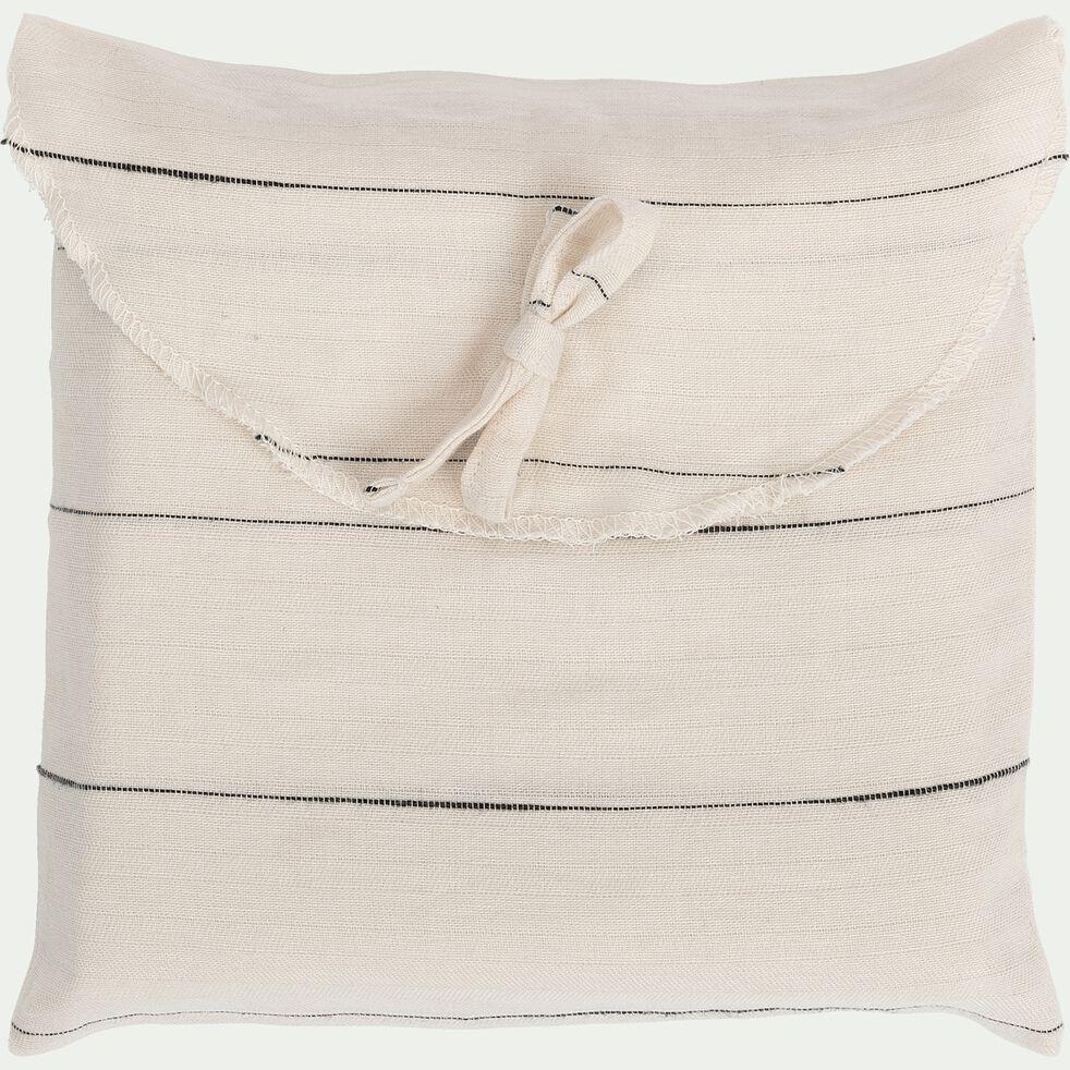 Lot de 2 taies d'oreiller en coton - beige 63x63cm-FINE