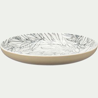 Assiette à dessert en porcelaine motifs laurier - beige d20,8cm-AIX