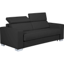Canapé 3 places fixe en cuir de buffle noir-MAURO