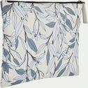 Trousse de toilette en polycoton motif Fleurs d'oranger - beige 15x19cm-ALEXIA