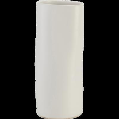 Vase en grès Blanc H23 cm-BOUKHARA