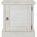 Table de chevet en pin finition brossée et blanchie 1 porte-JALOUSIE