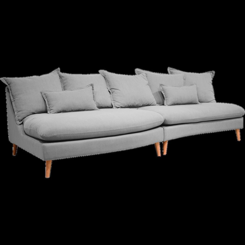 canap 5 places convertible en tissu gris restanque lamo. Black Bedroom Furniture Sets. Home Design Ideas