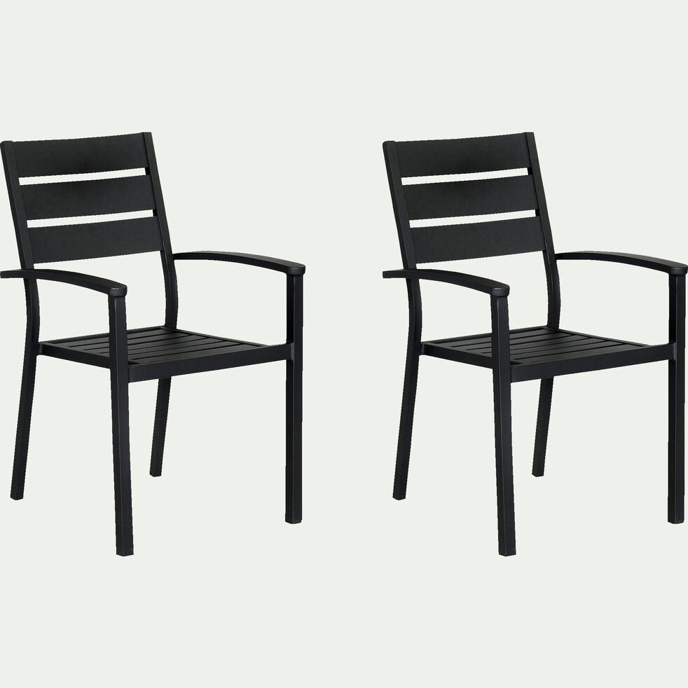 Chaise de jardin empilable en aluminium avec accoudoirs noir-MARIA