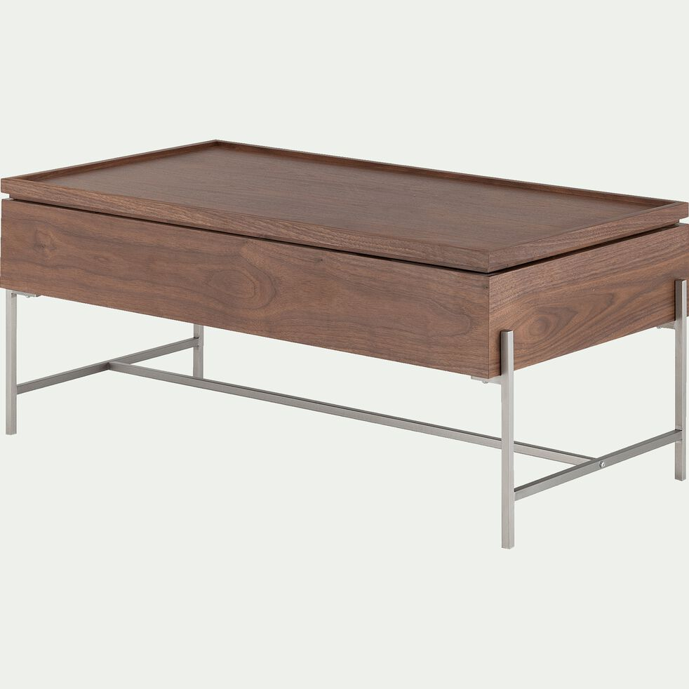 Table basse rectangulaire plaquée noyer avec plateau relevable-CLARIUS