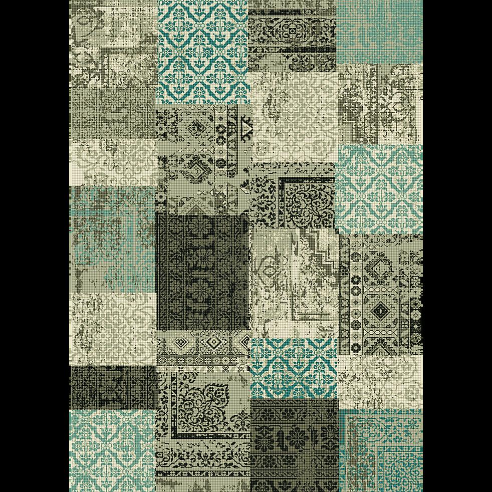Tapis patchwork bleu 160x230cm-ARTY