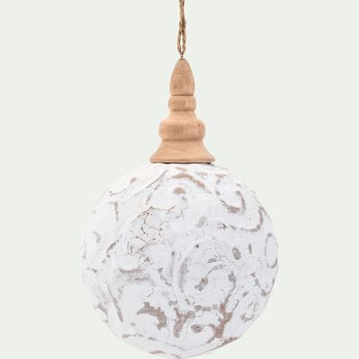 Boule de Noël en plastique blanc D12,4cm-OUTAT