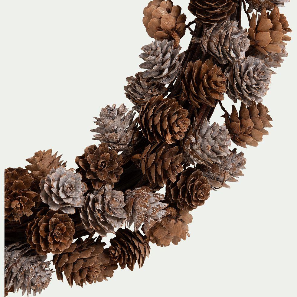 Couronne de Noël en pommes de pin - marron D40cm-SALVADORA