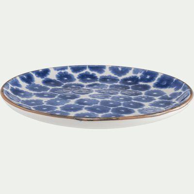 Assiette à dessert en faïence blanc et bleu D20,5cm-PORTO