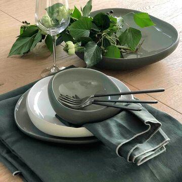 Gamme de linge de table en lin et coton vert cèdre-MILA