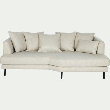 Canapé 3 places fixe droit en tissu - beige roucas-TESSOUN