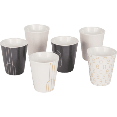 Coffret de 6 tasses en porcelaine blanche 9cl-DOME