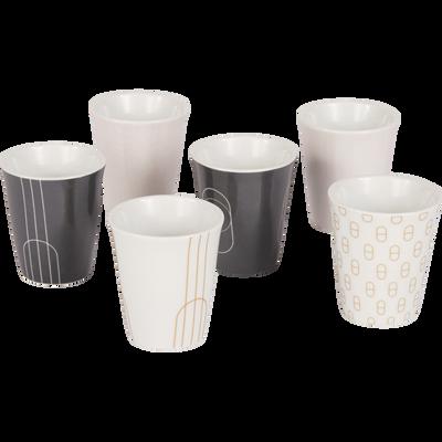 Coffret de 6 tasses en porcelaine blanche 9cl-DOME