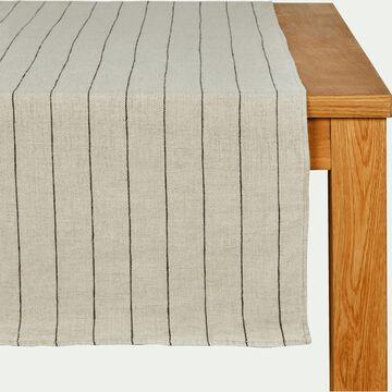 Chemin de table rayé en lin beige 50x145cm-BORSALINO