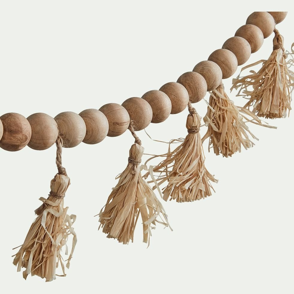 Guirlande perles de bois et pompons en raphia - naturel L155cm-TAHA