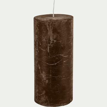 Bougie cylindrique - D7xH15cm marron-BEJAIA