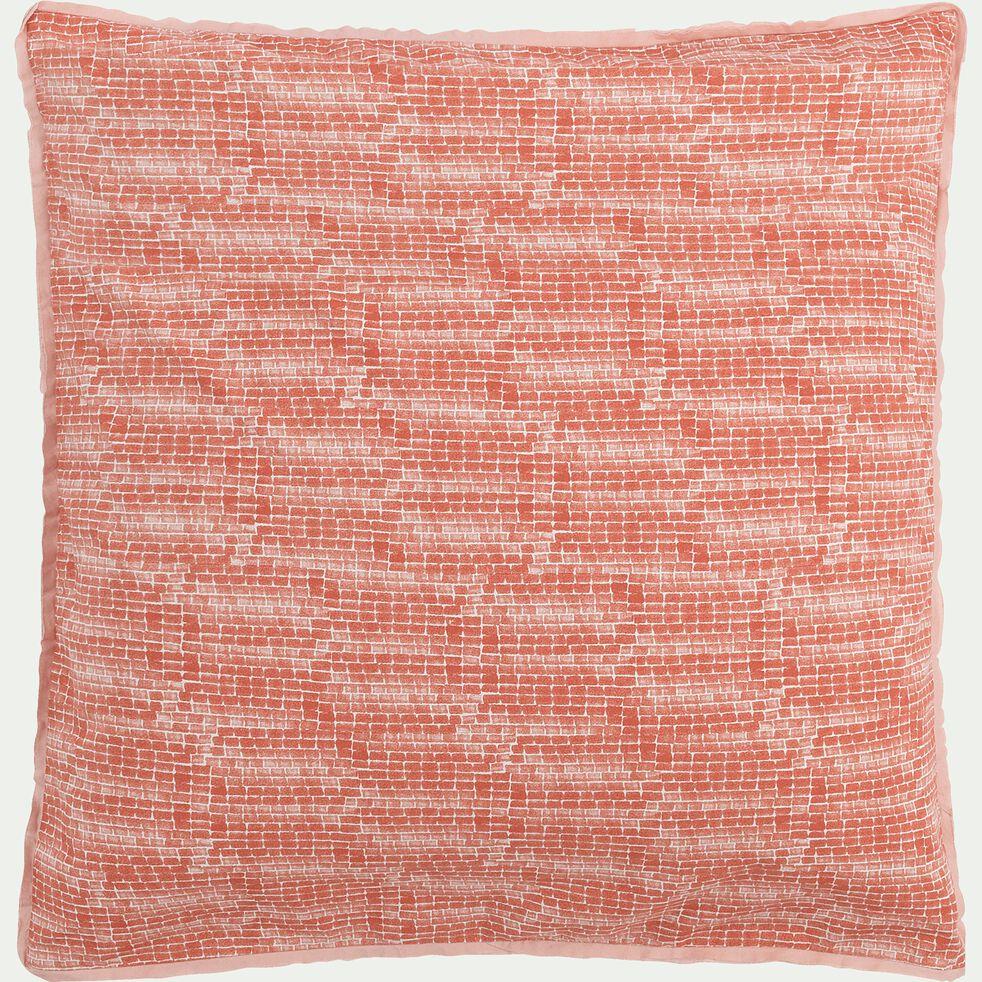 Housse de couette et 2 taies d'oreiller en percale de coton - orange brique 260x240cm-TUL