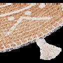 Tapis en jute rond motifs ethniques et pompons blanc-ANTALYA