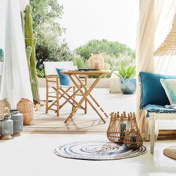 Ensemble table (2 places) et chaise de jardin en bambou