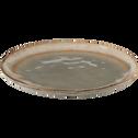 Assiette à dessert en grès marron D21cm-LUEUR