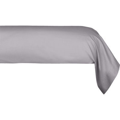 Taie de traversin en percale de coton gris restanque 43x190 cm-FLORE