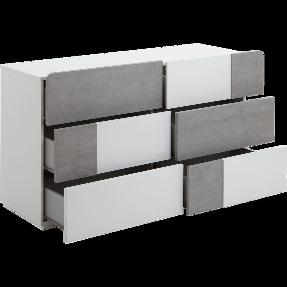 commode 6 tiroirs blanc laqu et b ton delia commodes alinea. Black Bedroom Furniture Sets. Home Design Ideas