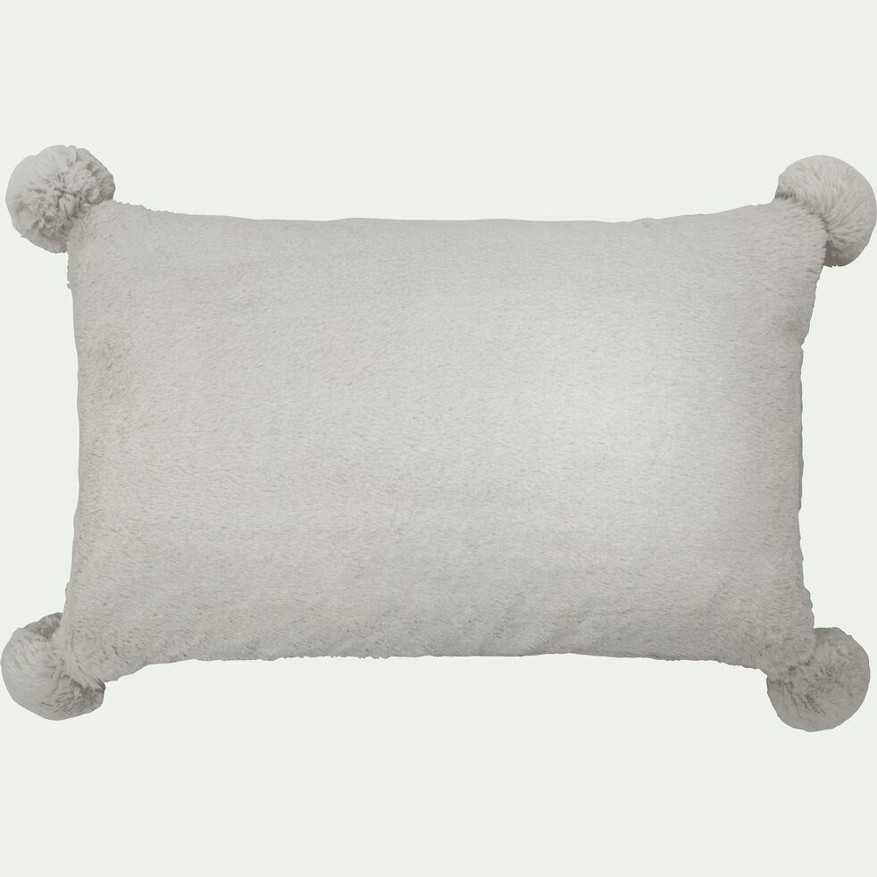 Coussin gris 30x50cm avec pompons pour enfant-ISABY